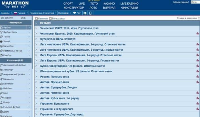 «Марафон» футбол: букмекерская контора предлагает ВФЛ