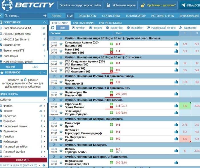 «БетСити» футбол: онлайн прямые трансляции многих матчей