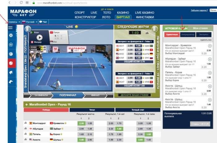 Стратегия на кибер теннис в «Марафон» бет: есть ли шанс?